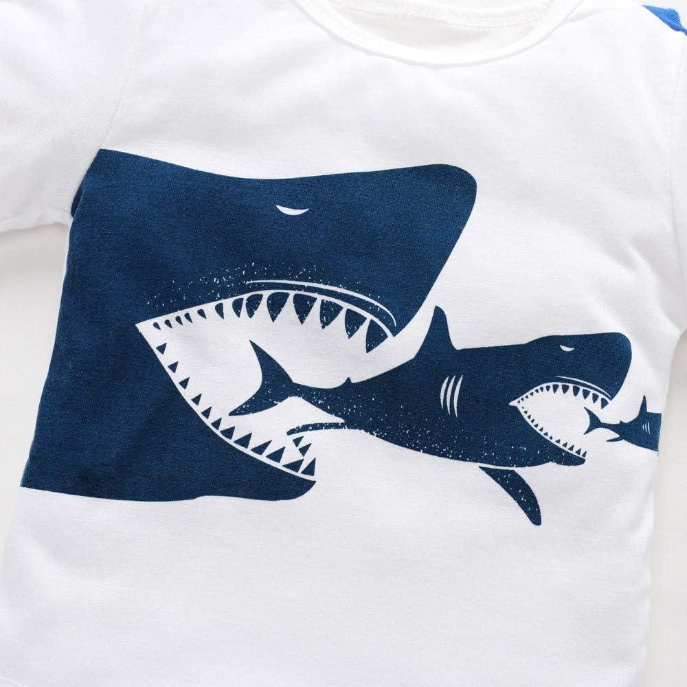 YanHoo Ropara niños Top Estampado de tiburón Manga Larga para ...