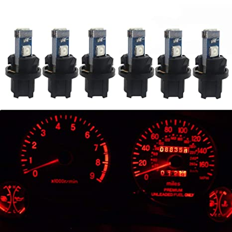 WLJH 6pcs Canbus Error Free T5 74 37 27 17 2721 3030SMD Led Dash Lights  Bulbs Gauge Cluster Dashboard Instrument Panel Light Lamps Bulb Twist Lock