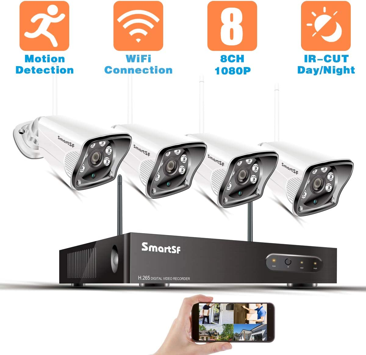 SmartSF 8CH 1080P Wireless Security Cameras System,H.265 8Channel Video Surveillance with 1080P NVR and 4Pcs 720P Weatherproof Bullet IP Cameras, IR-Cut Night Vision,Motion Detection,Remote Access