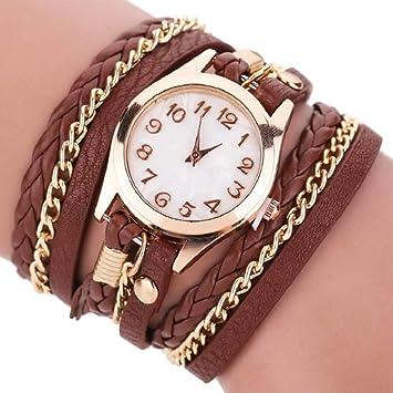 Dosige Pulsera del Relojes Retro Estilo Romano Cuarzo Reloj de Pulsera Mujeres Accesorios de Moda(Marrón): Amazon.es: Hogar