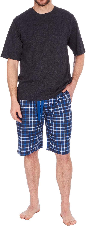 Pijamas para Hombre Set Top Manga Corta Camiseta /& Pantal/ón Corto Tejido Pantalones