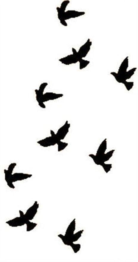 SAVI 3D Temporary Tattoo Flying Birds Design Size 10.5x6cm , 1pc, Black, 4 g