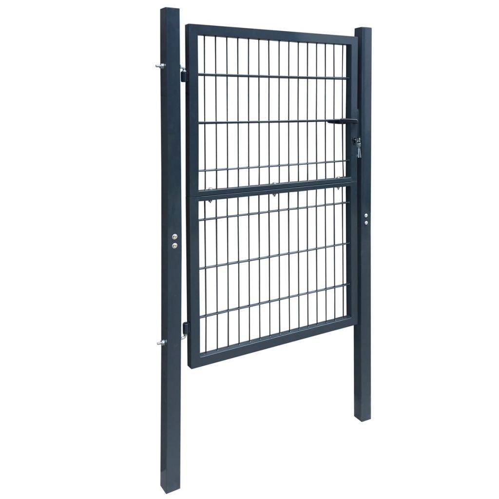 Porte de clôture Gris anthracite 106 x 210 cm vidaXL Portillon de jardin 2D Single