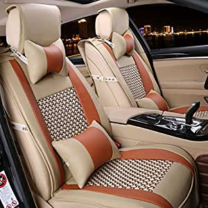 car seat cover cushions pu leather freesoo front rear full set car seat covers for. Black Bedroom Furniture Sets. Home Design Ideas