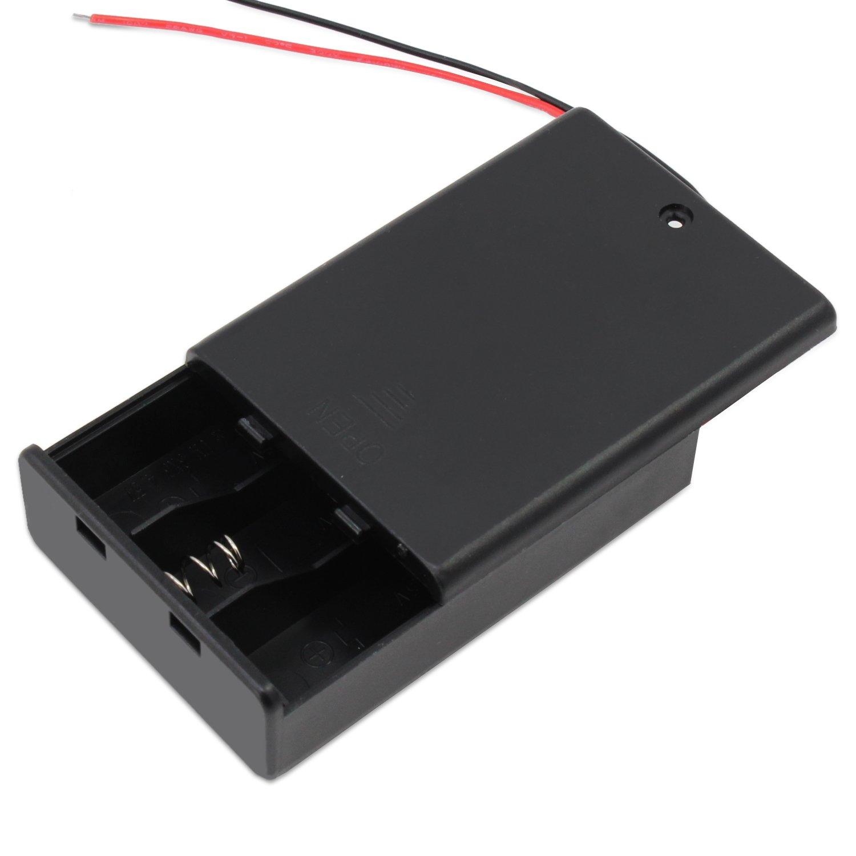 KEESIN AA 4.5 V bater/ía titular caso caja de almacenamiento de la bater/ía de pl/ástico con interruptor ON//OFF y cierre Cable Ties