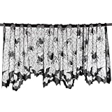 VT BigHome Halloween Knitted Curtain Lamp Cover Black Spider Web Ghost Festival Fireplace Stove Cloth Halloween Party Tablecloth 51152cm
