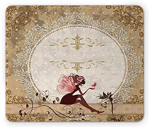 Fantasy Mouse Pad, Fairytale Elf Pixie Sitting Lace Petals with Butterfly Shabby Chic Art Print, Standard Size Rectangle Non-Slip Rubber Mousepad, Tan Beige Maroon ()