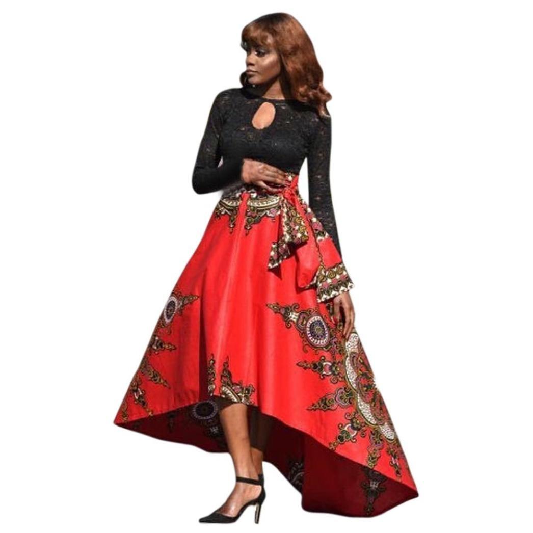 Women Dashiki Print Elastiic High Waist Party Boho Traditional African Print Beach Skirt (Red, XL)