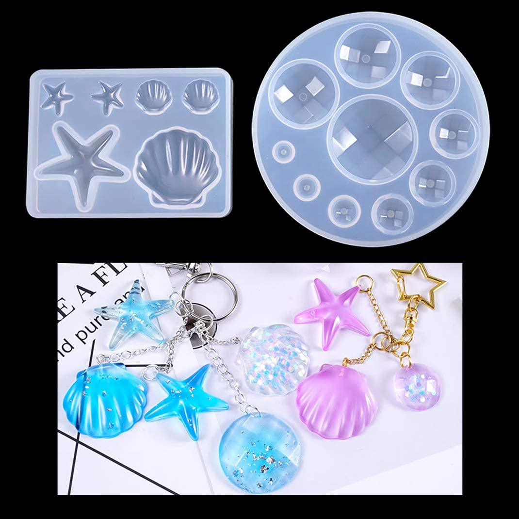 shell collection Pendant Cabochon soft Silicone Mold,UV Resin Transparent Silicone Mold,resin mold,uv resin mold,casting mold,starfish mold