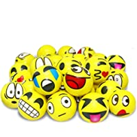 VCOSTORE 3 Inches Emoji Stress Balls, 24 Funny Face Squeeze and Bouncy Balls Bulk, Soft Stress Relief Balls Toys for…