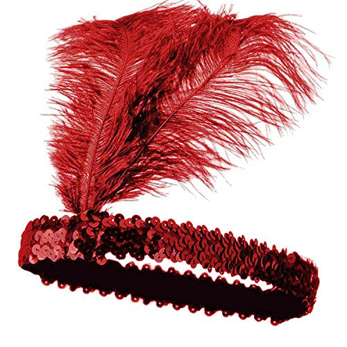 Mrotrida Sequins Feather Headpiece 1920s Carnival Party Event Vintage Headband Flapper Red ()