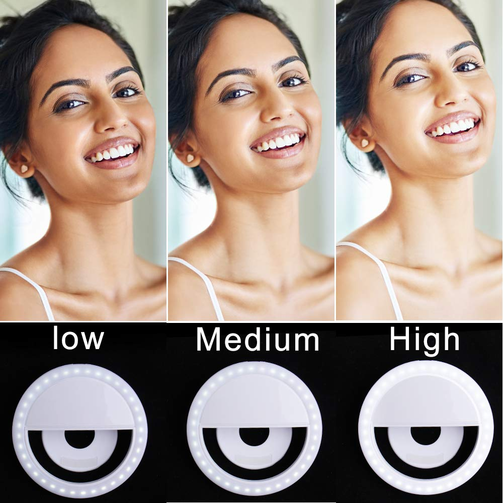 Outee 2 Pack Led Circle Clip On Cell Phone Laptop Camera LED Light 3-Level 36 Led Adjustable Brightness Video Lights Rechargeable Compatible for Phone Photography White Selfie Light Ring