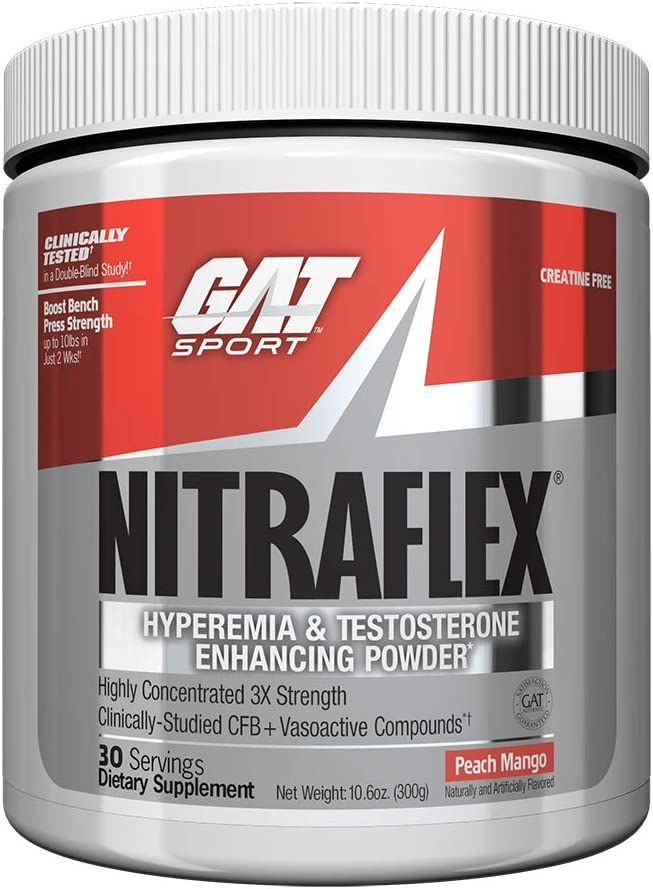 GAT – NITRAFLEX – Testosterone Boosting Powder, Increases Blood Flow, Boosts Strength and Energy, Improves Exercise Performance, Creatine-Free Peach Mango, 30 Servings