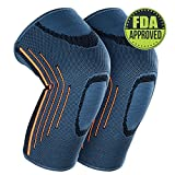 2018 Professional Knee Brace Sleeves Support Compression, 2 Pair Knee Pads Elbow Set for Sports, Running, Injury Recovery, Powerlifting, Acl, Basketball, Crossfit & More, Men and Women (M)