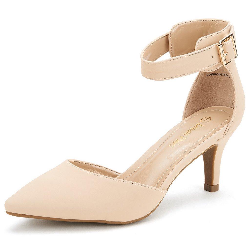 DREAM PAIRS Women's Lowpointed Nude Nubuck Low Heel Dress Pump Shoes - 7 M US