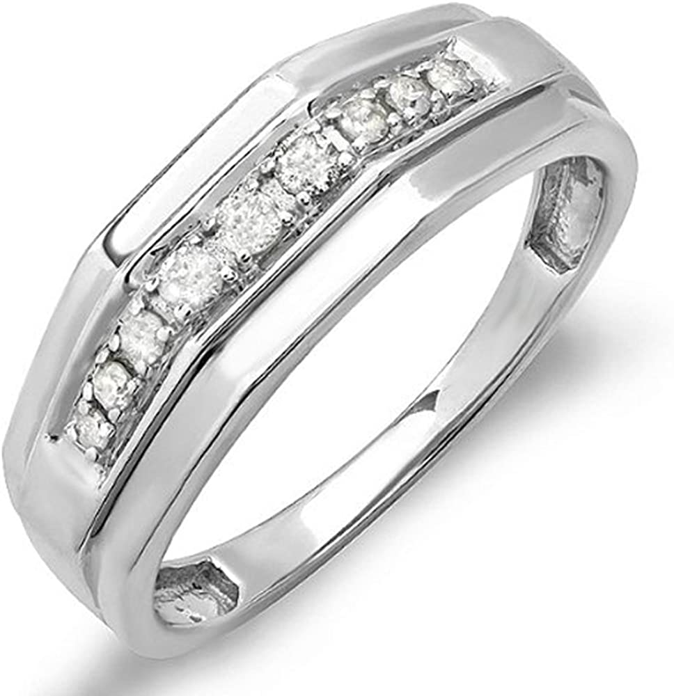 Dazzlingrock Collection 0.25 Carat (ctw) White Diamond Mens Wedding Anniversary Band 1/4 CT, Sterling Silver