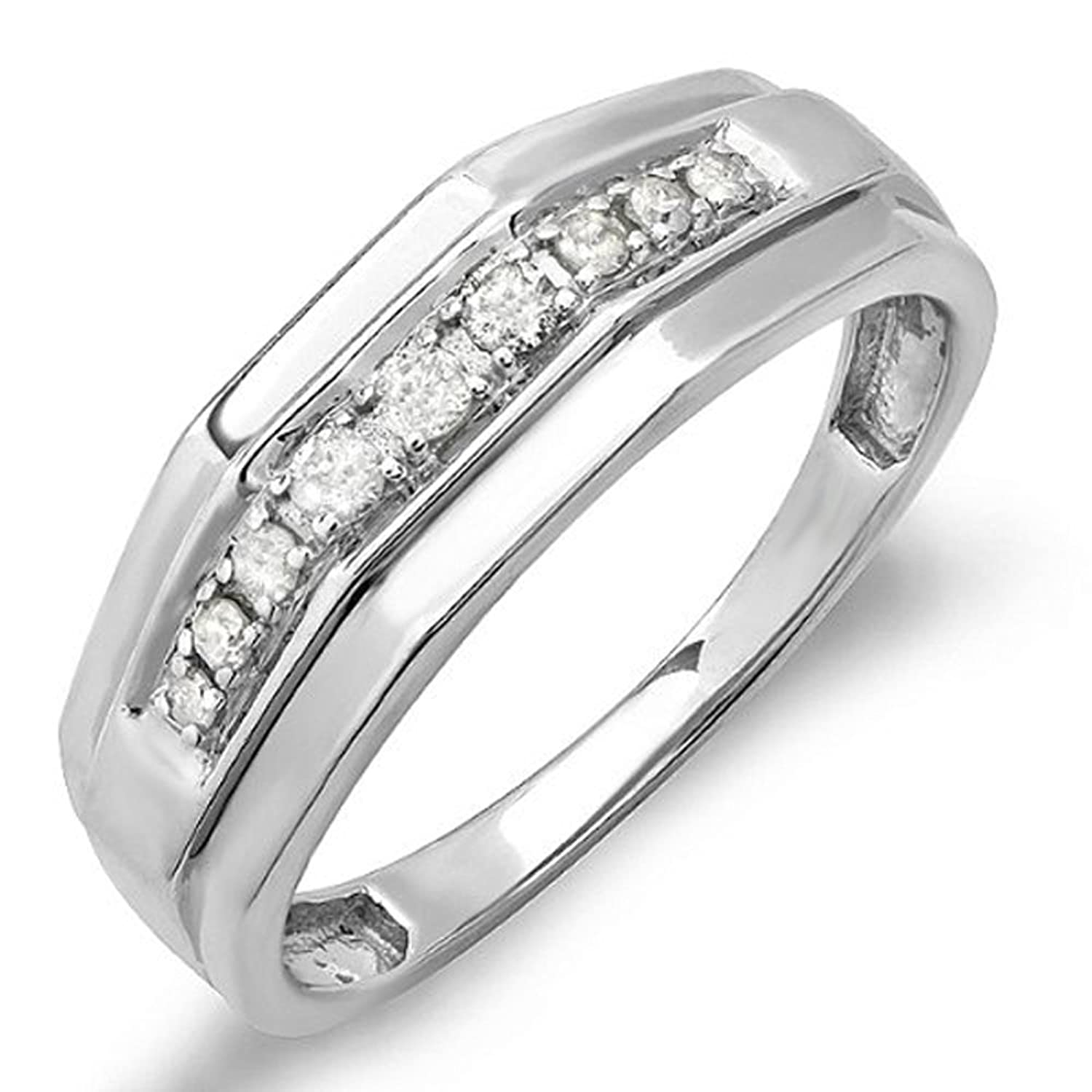 0.25 Carat (ctw) Sterling Silver White Diamond Mens Wedding Anniversary Band 1/4 CT