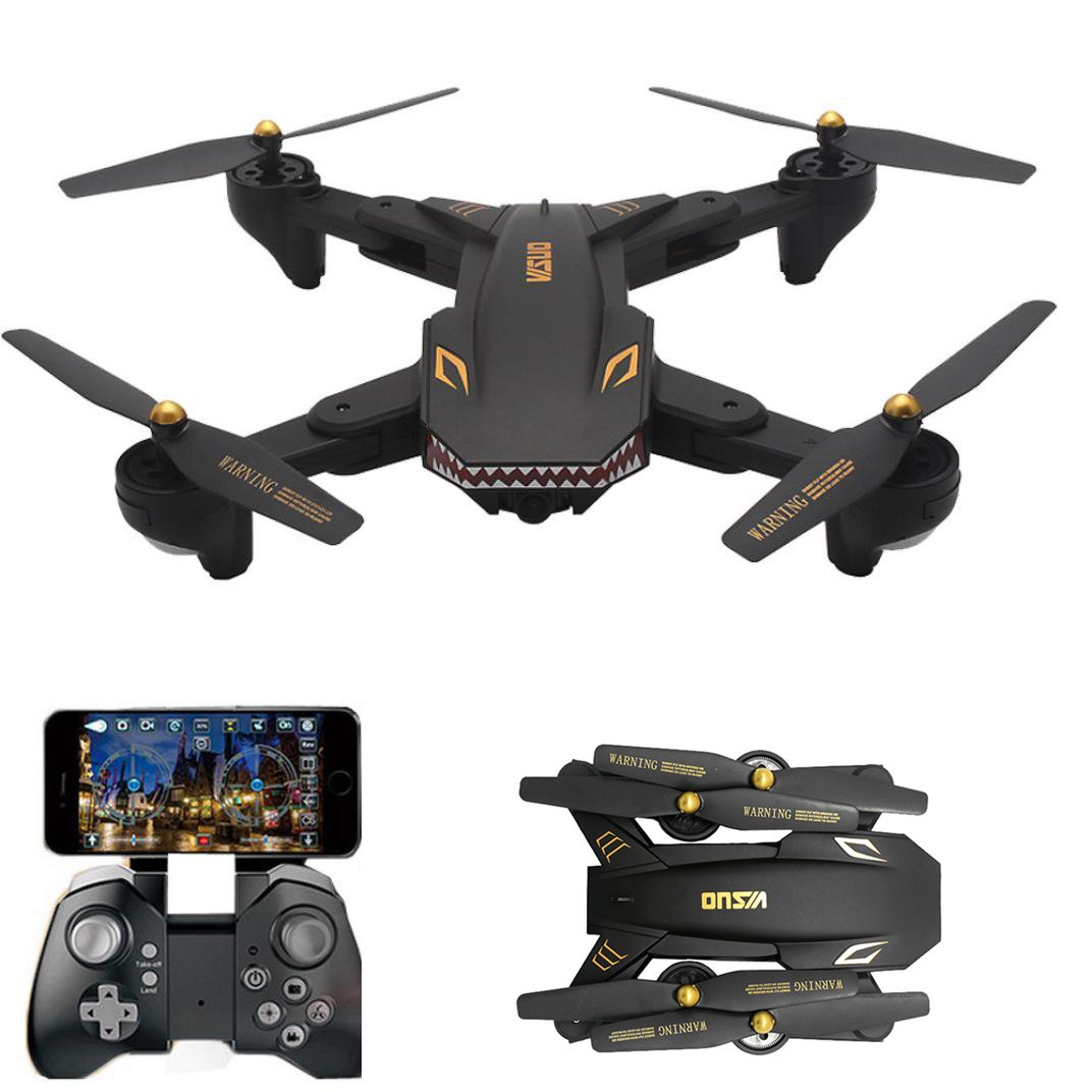 Huikai FPV WIFI Drone VISUO XS809HW with 120° FOV Wide Angle 720P HD Camera Live Video - Altitude Hold, Hovering, Headless Mode, Optical Flow (Black)