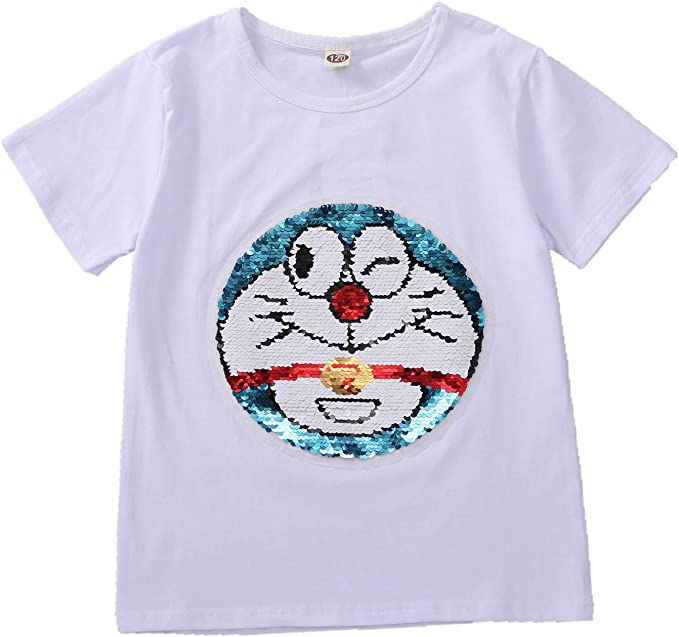 Doraemon Boy T-Shirt Summer Fashion Maglietta Cotton Short Sleeve White Top 3-11 Anni