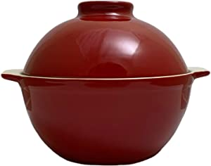 Sassafras Superstone Bread Dome with Red Exterior Glaze perfect for No-Knead Bread and Roasting Chicken, Meats and Vegetables