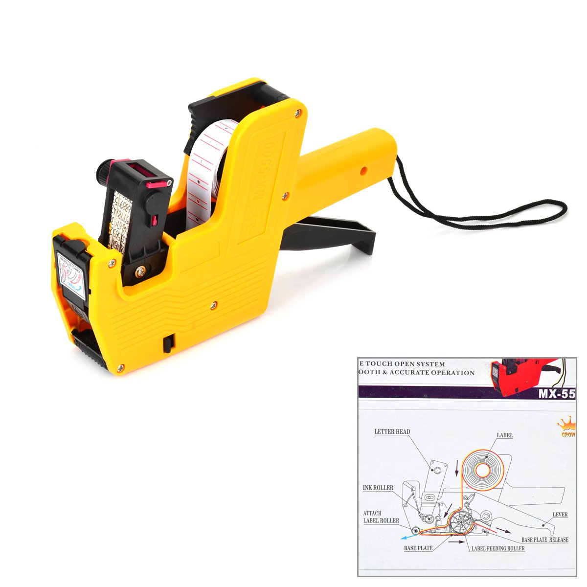 Solid and Durable Price Labeller Tag Gun - Orange-yellow + Black