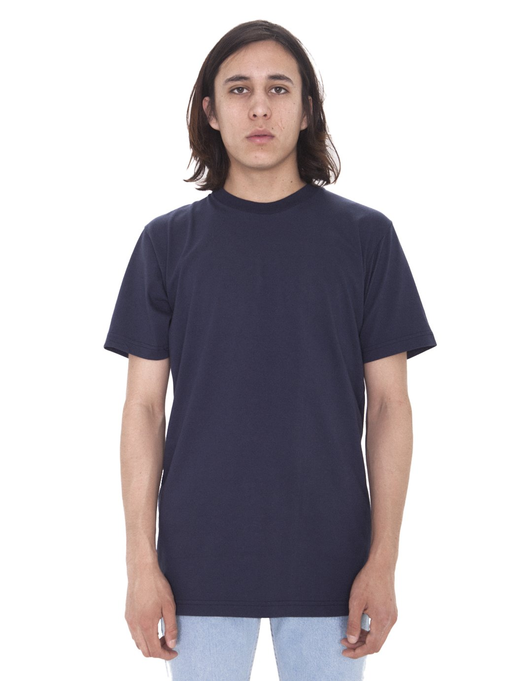 American Apparel Men's Fine Jersey Short Sleeve Tall Tee, Navy, Large