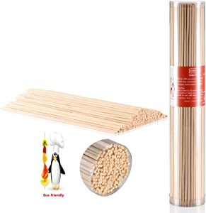 Awinro 12 Inch Bamboo Skewers, Natural Shish Kebab Skewers, BBQ Sticks for Barbecue, Grilling, Marshmallows, Fruit, Corn, Chocolate Fountain and More Food (200 Pcs)