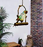 Makenier Vintage Tiffany Style Stained Glass Parrot Pendant Lamp
