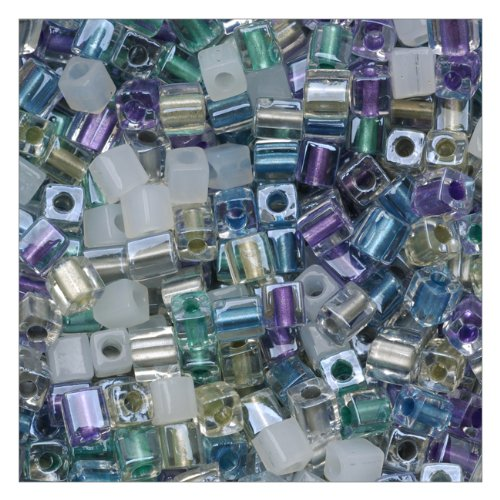 - Beadaholique Miyuki 10gm Serenity Glass Cube Color Mix Beads, 4mm, Green/Purple