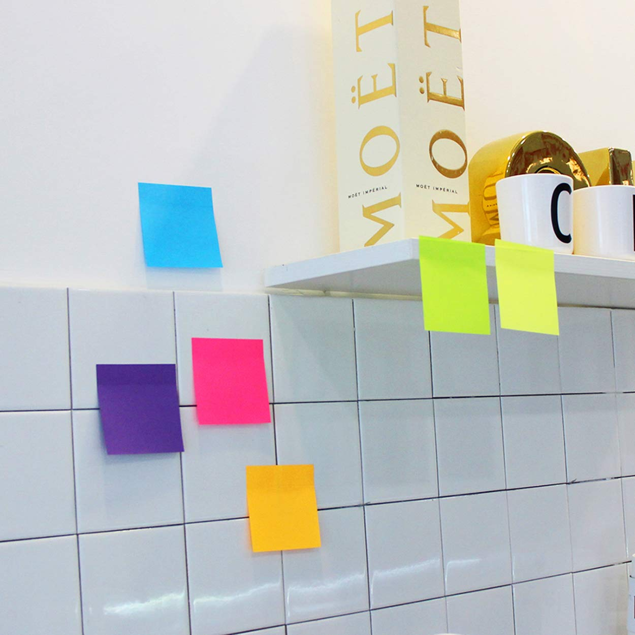 Easy to Post for Home Sticky Notes 3x3 Inches,Bright Colors Self-Stick Pads Notebook.8 Pads//Pack Office