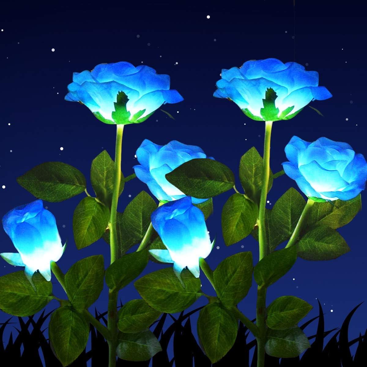 2Pcs Solar Power Rose Flower Garden Stake Outdoor landscape Lamp Yard LED Light