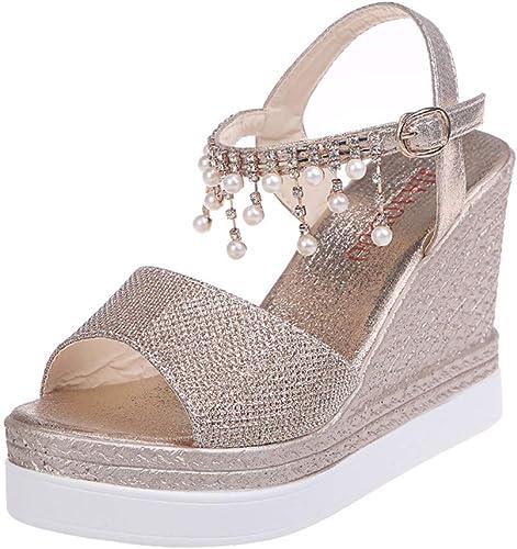 Nuevo Retro verano Zapatos cuñas para mujeres pendiente tacones de estilo