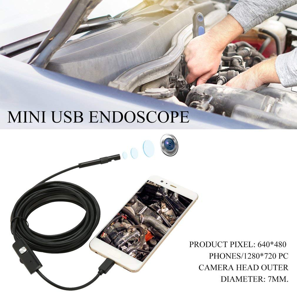 720 PC-Black 1m 480 Phones//1280 FairytaleMM Black 6 LED 7mm Lens Cable Waterproof Mini USB Inspection Borescope Camera For Android Endoscope 640