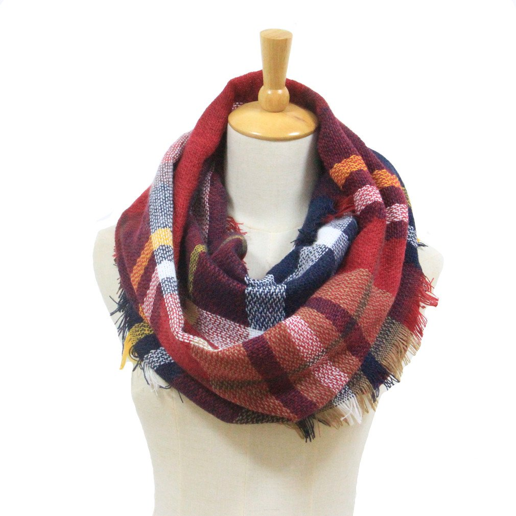 Winter Women Plaid Infinity Scarf,Fashion Tassel Soft Circle Loop Scarves for Women (wine)