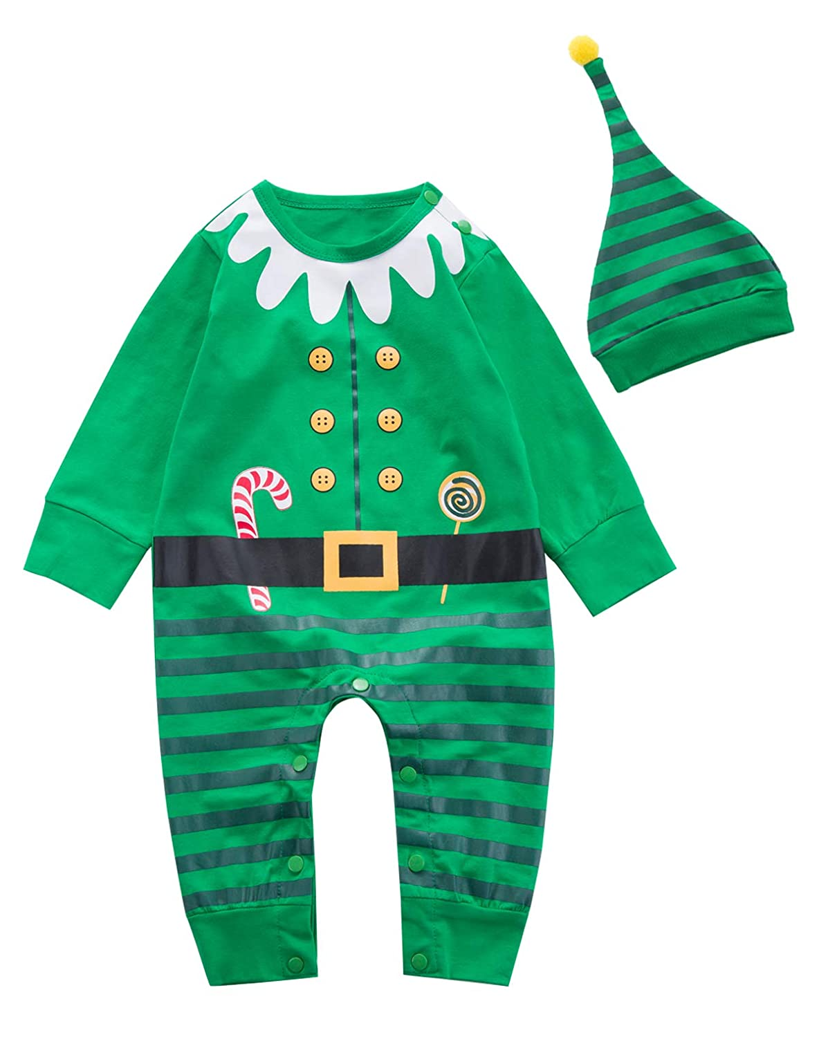 Baby Boys' Outfit Set Christmas Elf Costume Funny Romper with Hat
