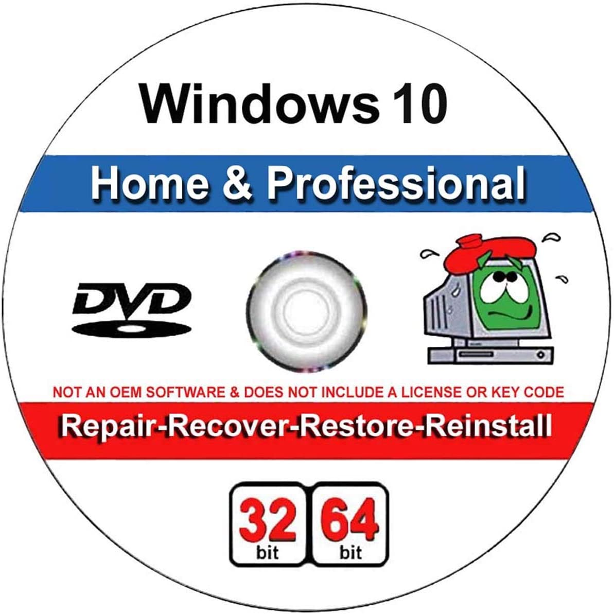 9th and Vine Compatible Windows 10 Home and Professional 32/64 Bit DVD. Install To Factory Fresh, Recover, Repair and Restore Boot Disc. Fix PC, Laptop and Desktop.