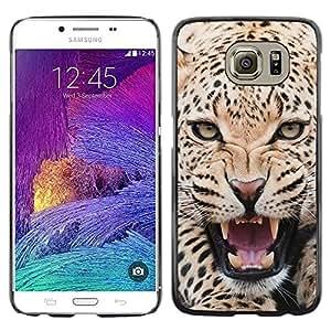 TopCaseStore / la caja del caucho duro de la cubierta de protección de la piel - Leopard Ferocious Animal Big Cat Roar - Samsung Galaxy S6 SM-G920