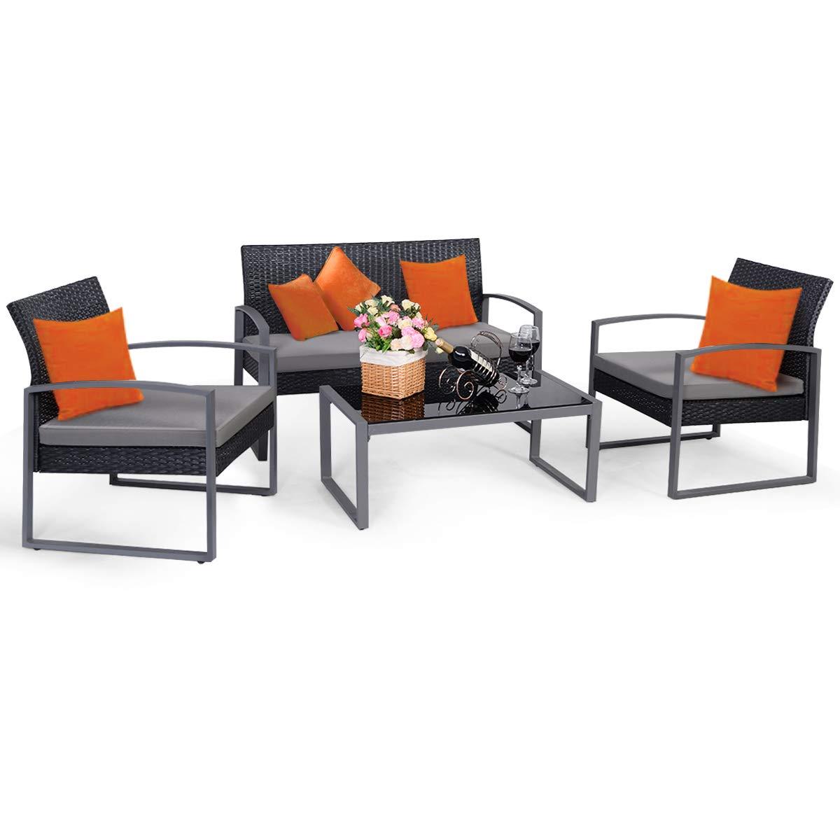 Tangkula 4 PCS Outdoor Patio Furniture Rattan Wicker Conversation Set, As pic by Tangkula