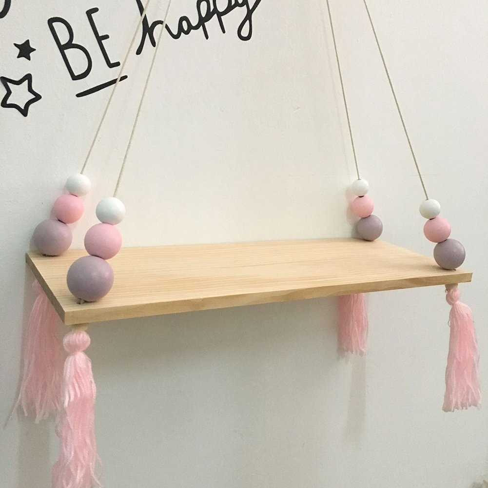 preliked Lovely Wall Rope Hanging Wooden Rack Bead Tassel Storage Shelf Home Kid's Room Decor by preliked (Image #2)