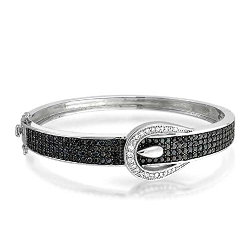 Simulated Onyx CZ Belt Buckle Bangle Bracelet Rhodium Plated