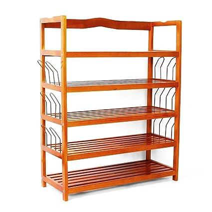 Amazon com: Mallmall 5-Tier Wooden Shoe Rack Shelf Storage Organizer