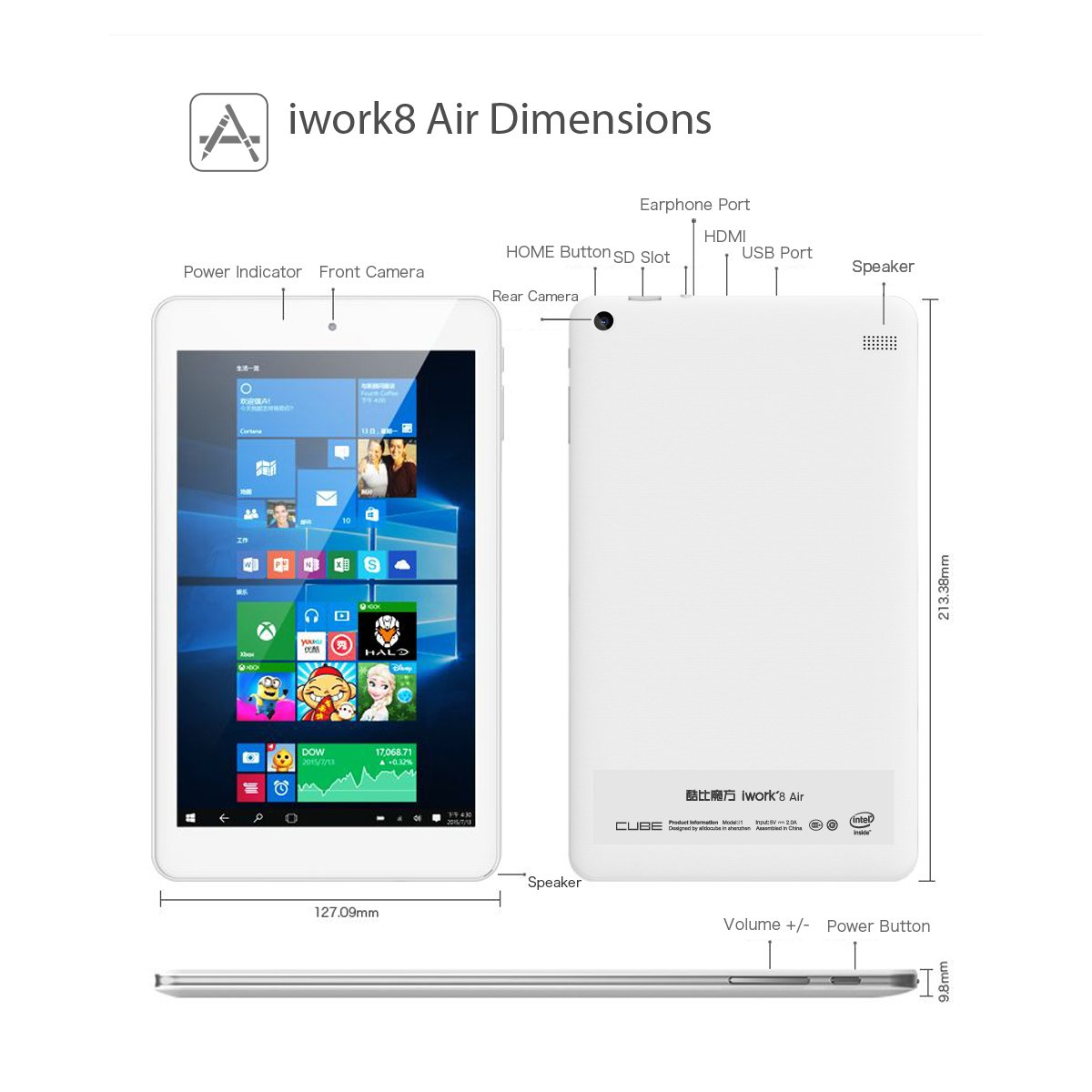 ALLDOCUBE iwork8 Air Tablet, Cube 8 inch 1920 x1200 IPS Screen (Win10 +  Android 5 1, Intel Atom X5 Z8350, 2GB RAM, 32GB ROM, HDMI Output), White(No