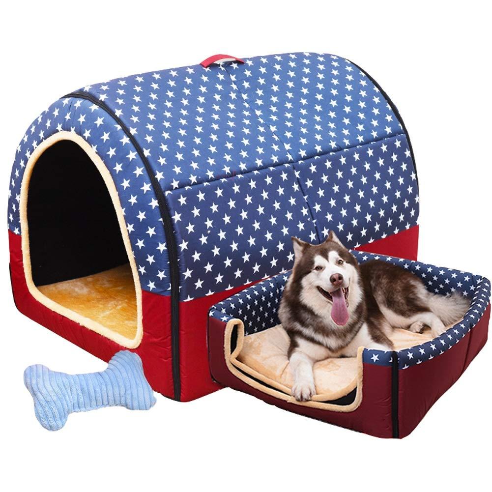 B L B L DQMSB Large Dog Kennel Winter Warm Washable Pet Nest Medium Dog Kennel Indoor Dog House 6 Styles 6 Pet bed (color   B, Size   L)