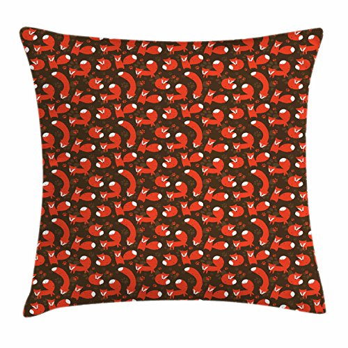 Ambesonne Fox Throw Pillow Cushion Cover, Paw Print Pattern Background with Childrens Cartoon Cunning Forest Animals, Decorative Square Accent Pillow Case, 18