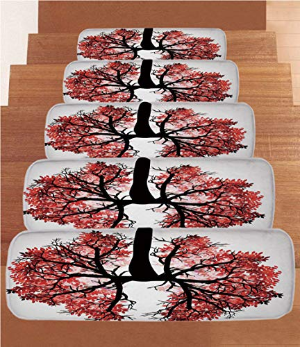 Modern Coral Fleece Stair Treads,Stair Tread Mats,Eco Environment Themed Human Lung Shaped Floral Tree Healthy Lifestyle Nature Print,(Set of 5) 8.6