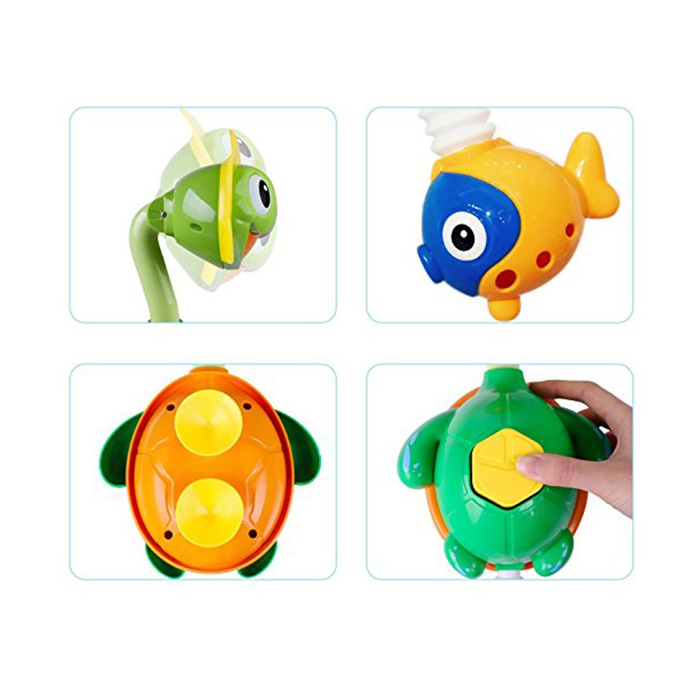 Super Interactive Water Fun Girls 3 4 Year Olds Toddler Little Bado Turtle Baby Bath Toy Bathtub Spray Water Pump with Hand Shower Swimming Pool Water Toy Interact Fountain Toy for Kids Boys 2