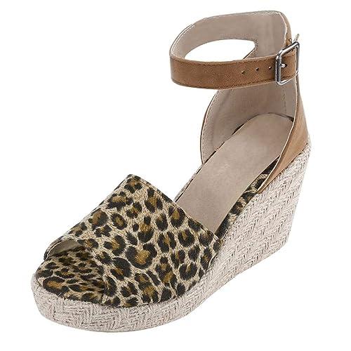 dcd3a781b6147 Logobeing Sandalias de Plataforma de cuña de tacón Alto Mujer Zapatos de  Tobillo de Hebilla de