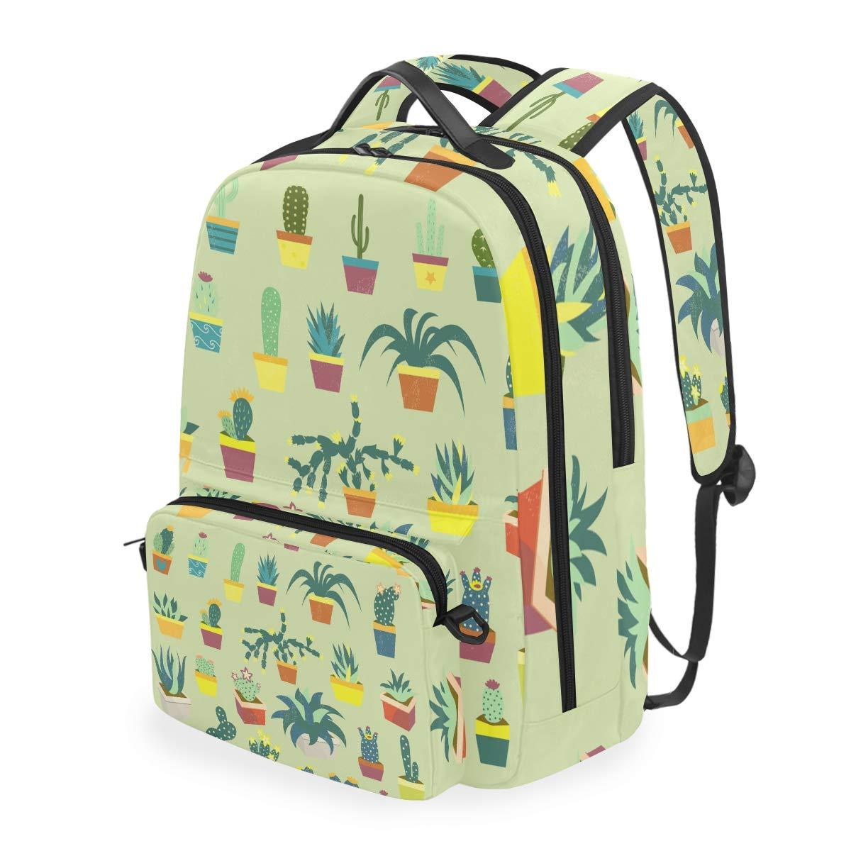 Green Cactus Cacti Shoulder Backpack Messenger Crossbody Laptop Bag Student Bookbags for Kid Girls Boys