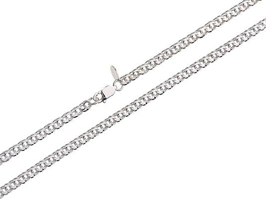 C30 bala cadena plata perlas Sterling plata 925 longitud a elegir entre 3 mm