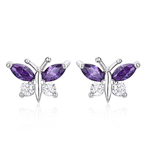 cb167fb36 Amazon.com: Cute Small 925 Sterling Silver Butterfly Blue CZ Stud ...